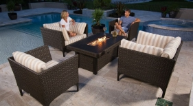 Calais Chat Group with Standard and Luxe seating and Fire Pit, Mocha