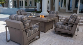 Dover Upholstered Chat Set with Fire Pit, Oyster