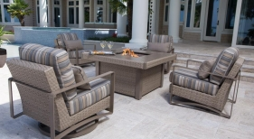 Dover Woven Chat Set with Fire Pit, Oyster