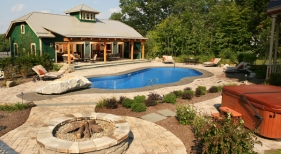 Swimming Pool with Mountain Pond and Firepit