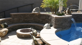 Swimming Pool with Firepits