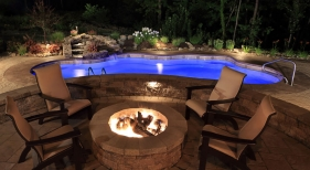 Swimming Pool with Firepits and Pool Led Lights