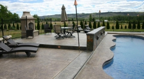 Freeform Swimming Pool wiht Scupper and Fireplace