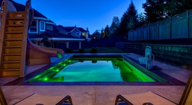 Swimming Pool with Slide and Pool Led Lights