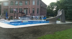 Swimming Pool & Spa with Volleyball Net and Slide