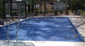 Inground Swimming Pool with Cover and Basketball Hoops