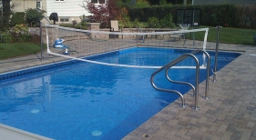 Inground Swimming Pool with Cover and Volleyball Net