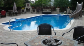 Fiberglass Inground Pool with Slide and Basketball Hoops