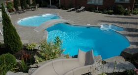 Freeform Swimming Pool with Solid White Liner No Pattern