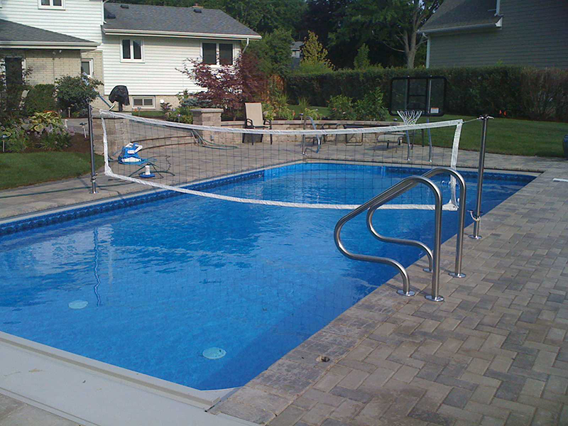 Fiberglass pool photos wheaton vinyl liner pool for Pool design for volleyball