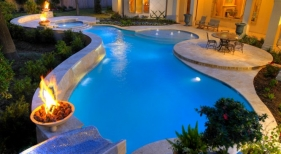 Freeform Pool and Spa with Fire-Bowls