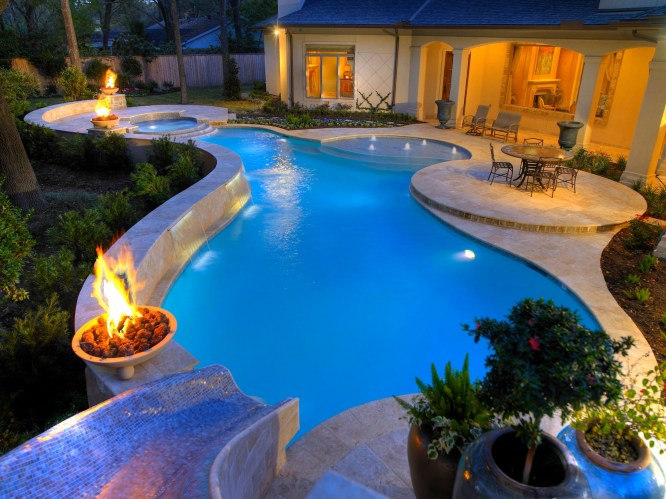 Water feature photos bloomingdale fire bowls elmhurst - Pool fire bowls ...